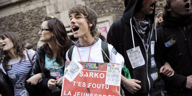 Manifestation de lycéens à Paris contre la réforme des retraites, jeudi 21 octobre.