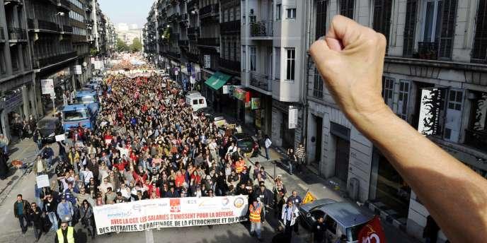 Manifestation contre la réforme des retraites, le 28 octobre à Marseille.