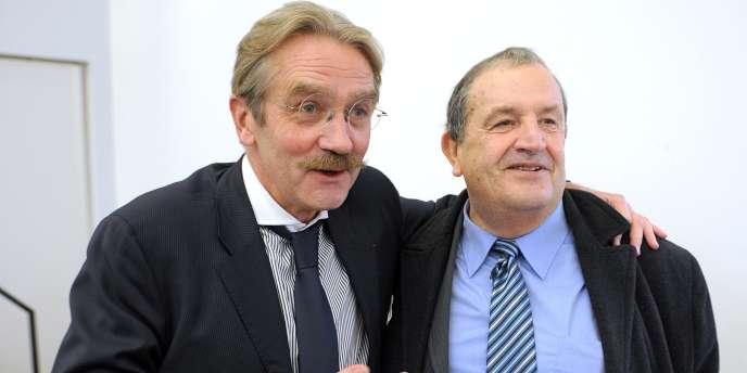 Frédéric Thiriez, président de la Ligue de football professionnel, et Fernand Duchaussoy, président par intérim de la Fédération française de football, jeudi lors des Etats généraux.