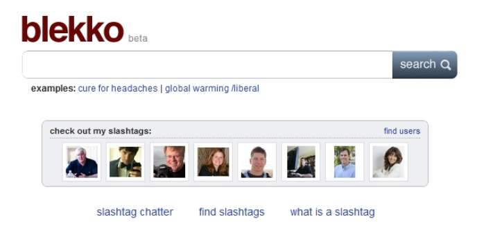 La page d'accueil du moteur de recherche Blekko