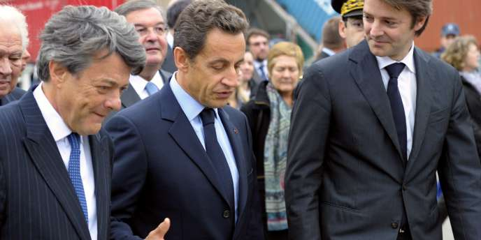 Nicolas Sarkozy, Jean-Louis Borloo et François Baroin à Nogent-sur-Seine (Aube), jeudi 4 novembre 2010.