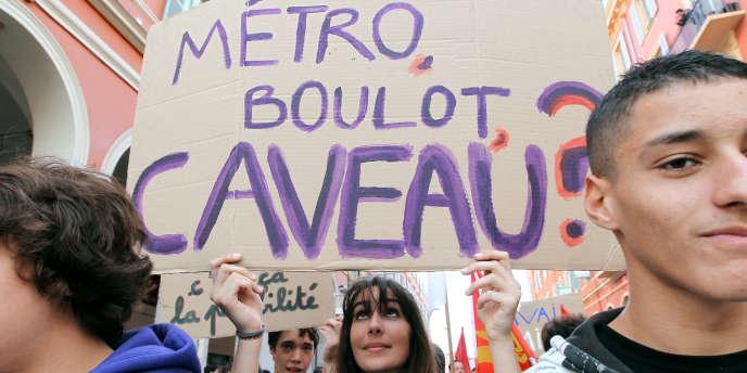Manifestation à Nice, le 6 novembre, contre la réforme des retraites.