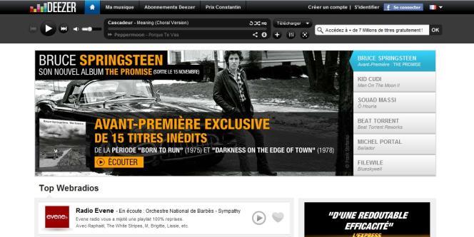 La page d'accueil du site Deezer.