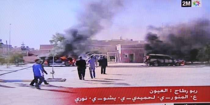 Images de la télévision marocaine des heurts survenus lundi 8 novembre au Sahara occidental.