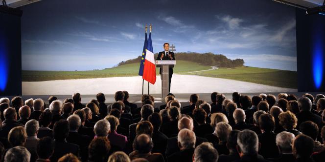 Nicolas Sarkozy, le 9 novembre 2010, à Colombey-les-Deux-Eglises.
