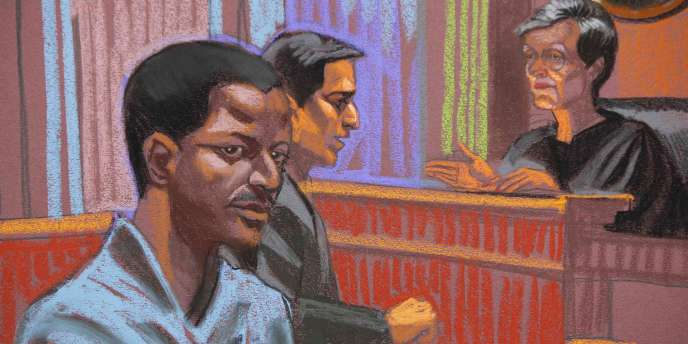 Dessin représentant le Tanzanien Ahmed Khalfan Ghailani lors de son procès devant le tribunal civil de New York.
