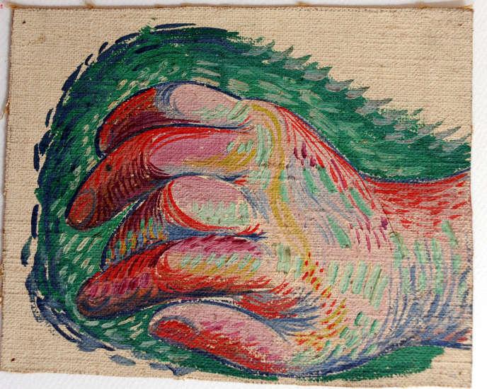 Cette étude de main a été découpée dans une toile.
