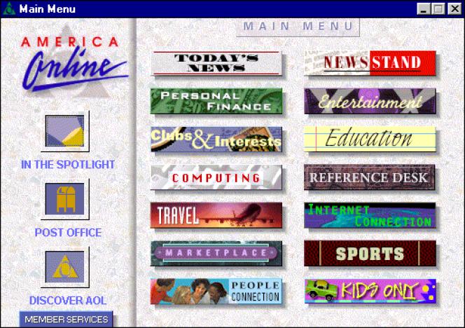 America Online, dit AOL, est à l'époque le premier fournisseur d'accès américain. Il est aussi un des premiers à investir le marché français.