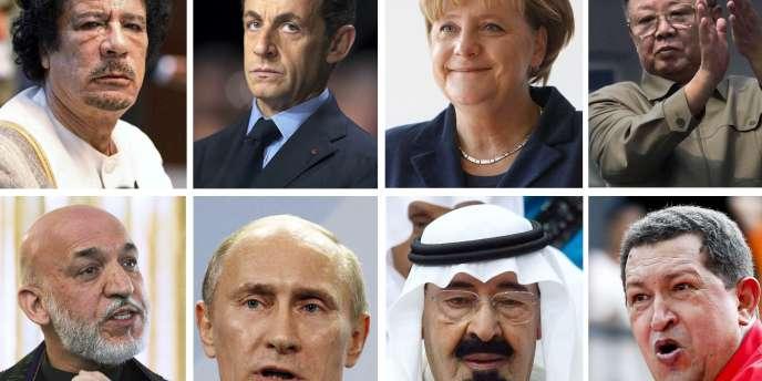 Certains des dirigeants mondiaux évoqués dans les câbles diplomatiques révélés par WikiLeaks.