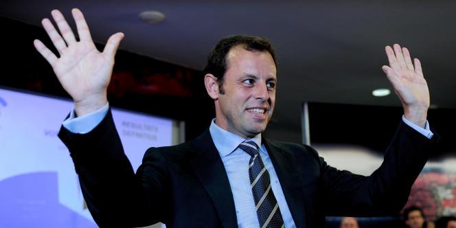 Sandro Rosell, ex-président du FC Barcelone, ici le 14 juin 2010 au moment de sa désignation à la tête du club catalan.