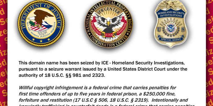 Le message du département de la sécurité intérieure, sur le site de Torrent Finder.