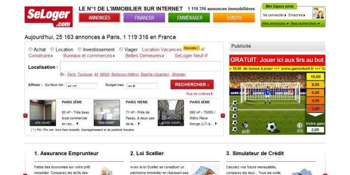 La page d'accueil du site Seloger.com.