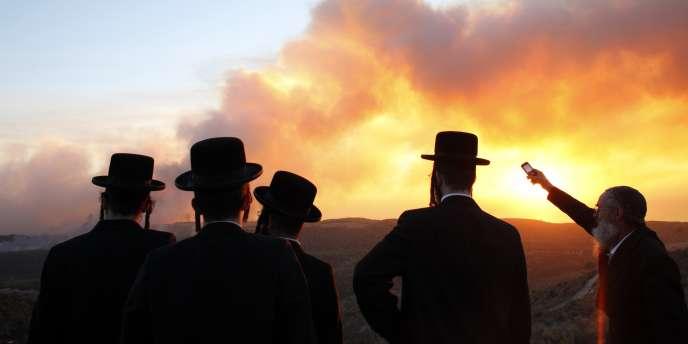 Des hommes regardent brûler le massif du Carmel, près d'Haïfa, jeudi 2 décembre.
