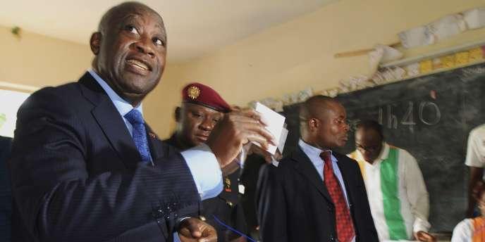 Le président sortant Laurent Gbagbo lors du deuxième tour, le 28 novembre.