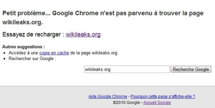 Message d'erreur lorsqu'un internaute tente de se connecter sur Wikileaks.org