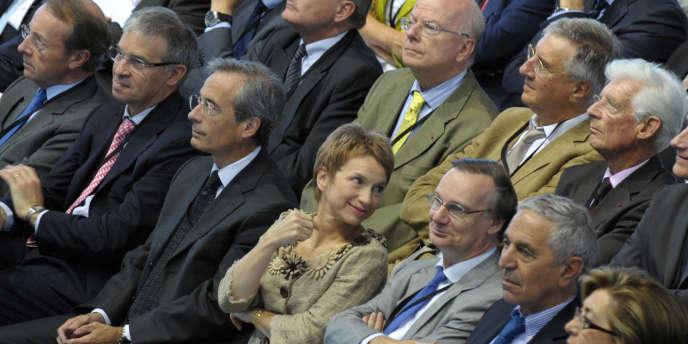 Laurence Parisot, présidente du Medef, et Maurice Lévy, président de l'Association des entreprises privées.