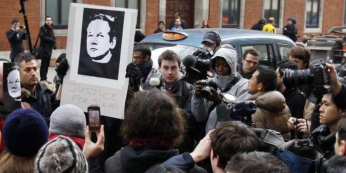 Manifestation en faveur de Julian Assange, le 7 décembre à Londres, jour de son arrestation.