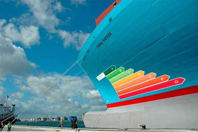 Cette image produite par le transporteur maritime Maersk montre ce à quoi pourrait ressembler l'identification de la performance énergétique des cargos.