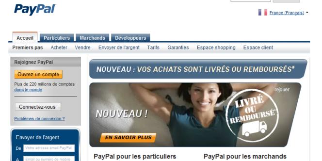 La page d'accueil de PayPal.
