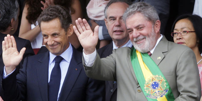 Nicolas Sarkozy et Luiz Inacio Lula da Silva lors d'un voyage du président de la République française au Brésil, en septembre 2009.