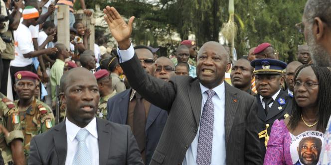 Charles Blé Goudé (à gauche), avec l'ancien président ivoirien Laurent Gbagbo, en octobre 2010 à Abidjan.