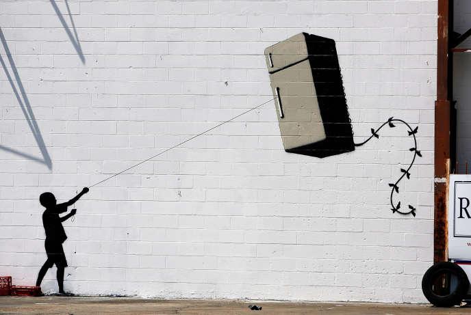 Banksy peint partout, surtout sur les murs, où se répand son humour dévastateur. Ici à La Nouvelle Orléans en août 2008.