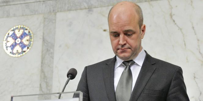 Le premier ministre suédois Fredrik Reinfeldt lors d'une conférence de presse, dimanche 12 décembre.