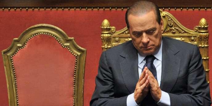 Silvio Berlusconi, le président du Conseil italien, le 13 décembre 2010 au Sénat.