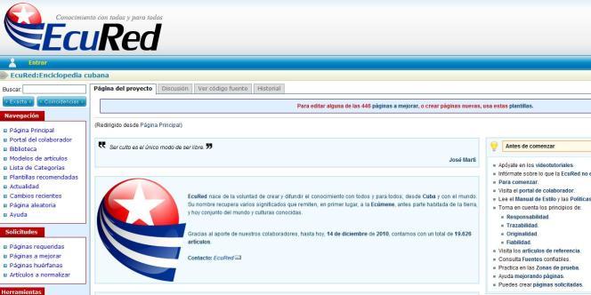 La page d'accueil du site EcuRed.