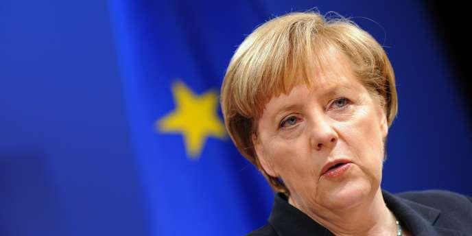 La chancelière allemande Angela Merkel lors d'une conférence de presse à Fribourg, le 10 décembre 2010.