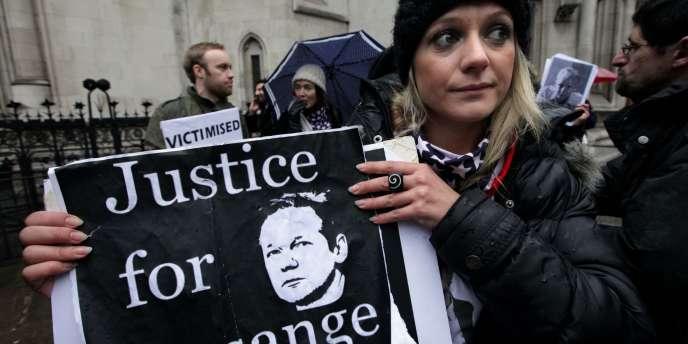 Manifestation de soutien à Julian Assange, le 14 décembre à Londres.