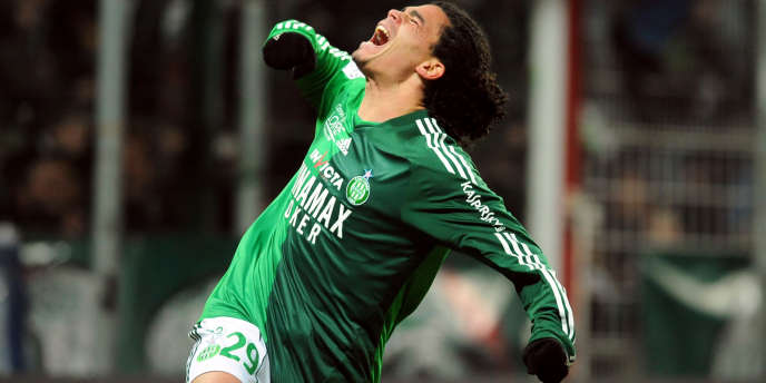 L'ivresse de la victoire, ici du footballeur Emmanuel Rivière, alors à Saint-Etienne.