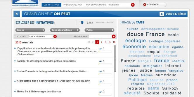 Capture d'écran des initiatives les plus récentes proposées sur le réseau citoyen de l'UMP,