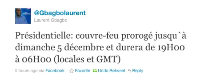 Capture d'écran du tweet envoyé sur le compte officiel du président ivoirien sortant Laurent Gbagbo à l'annonce de sa défaite, le 1er décembre.