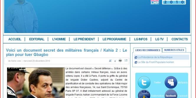 Sur l'un des sites pro-Gbagbo, la France est accusée de vouloir assassiner le président sortant.