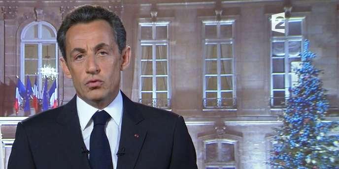 Nicolas Sarkozy lors de ses vœux aux Français, le 31 décembre 2010.