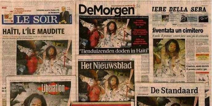 Quelques unes de journaux ayant utilisé une photo de Daniel Morel, reprise sauvagement par l'AFP.