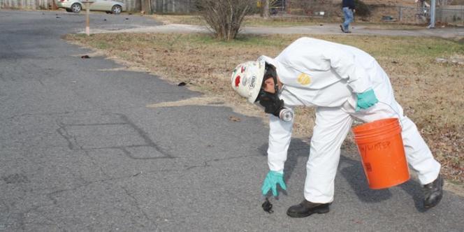 Un homme ramasse un oiseau mort, à Beebe, dans l'Arkansas, le 1er janvier.