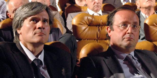 Stéphane Le Foll et François Hollande, le 23 juin 2008, à Paris.