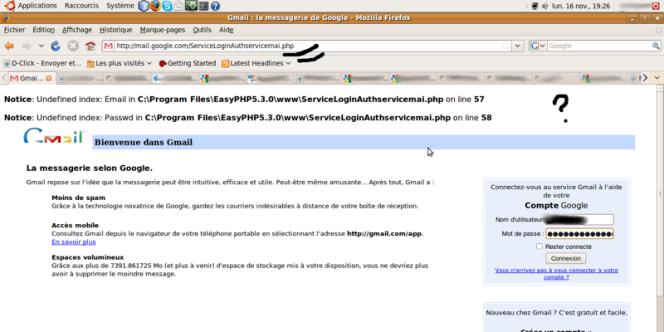 Capture d'écran d'une page de connexion à Gmail victime d'une tentative de détournement, publiée par le blogueur tunisien Slim Amamou.