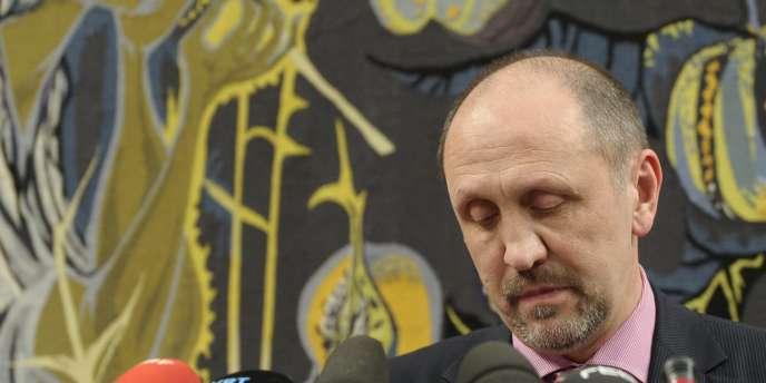 Johan Vande Lanotte, le responsable socialiste flamand, lors d'une conférence de presse le 6 janvier.