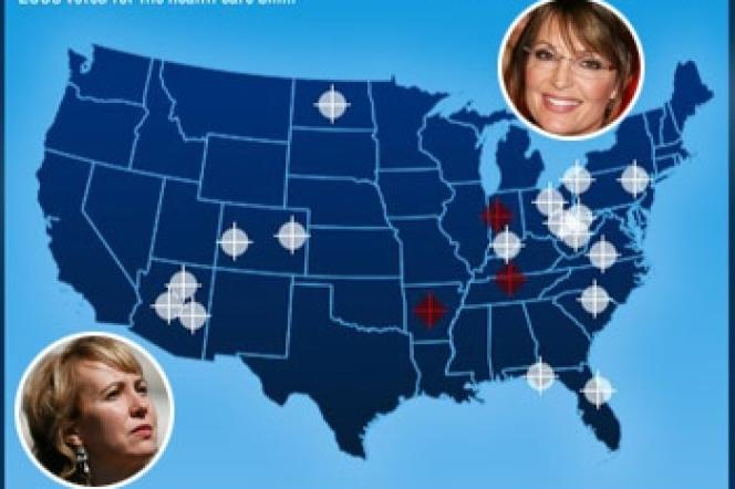 Une affiche de campagne montre une carte de l'Amérique émaillée de viseurs de fusils.