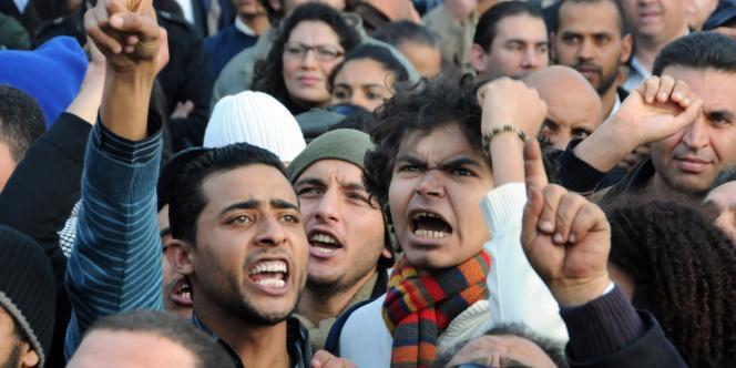 Lors des manifestations du 8 janvier à Tunis.