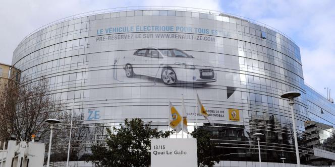 Le siège de l'entreprise Renault, à Boulogne-Billancourt. L'exploration par le groupe de solutions hybrides démontre que le constructeur hexagonal n'est pas totalement satisfait de ses performances dans l'électrique.