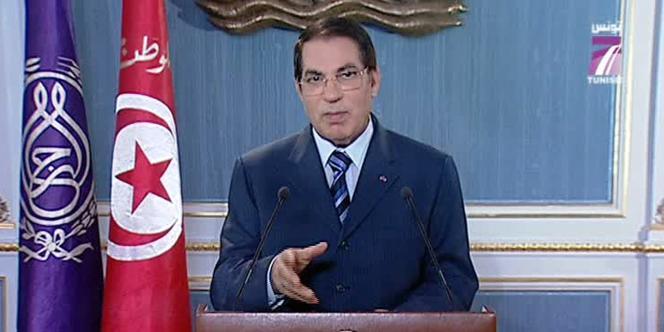 Le président tunisien Ben Ali, lors de son allocution télévisée, lundi 10 janvier.