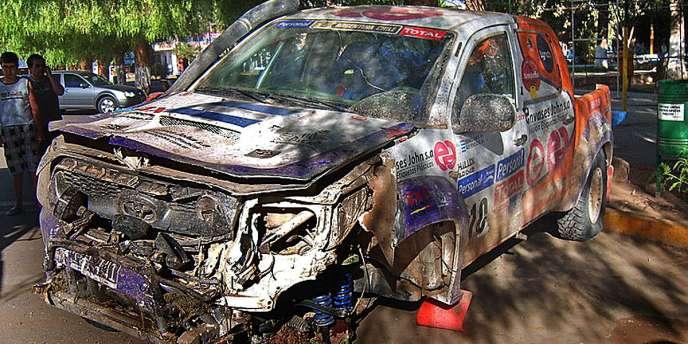 Le véhicule du concurrent argentin impliqué dans l'accident le 13 janvier à Tinogasta.