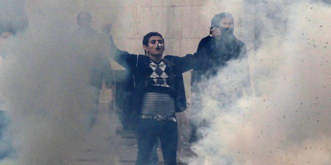 Un manifestant à Tunis, le jour de la chute de Ben Ali, le 14 janvier 2011.