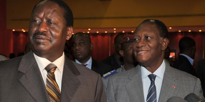 Raila Odinga et Alassane Ouattara, le 17 janvier 2010.
