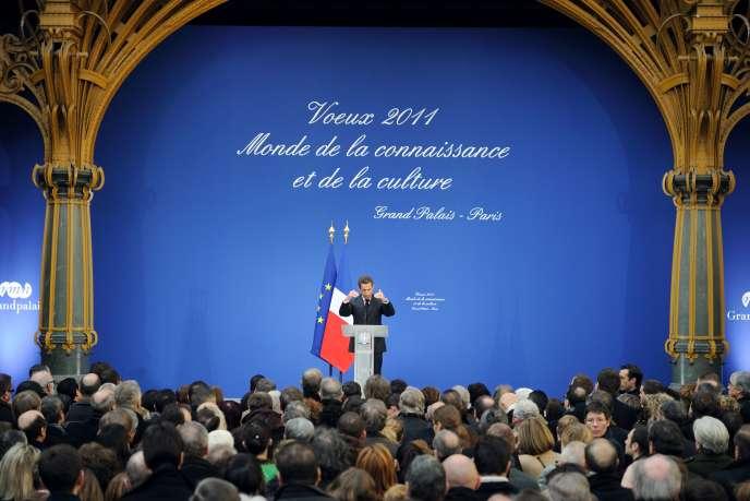 Nicolas Sarkozy a présenté ses voeux pour 2011 au monde de la connaissance et de la culture, au Grand Palais, à Paris, jeudi 20 janvier.