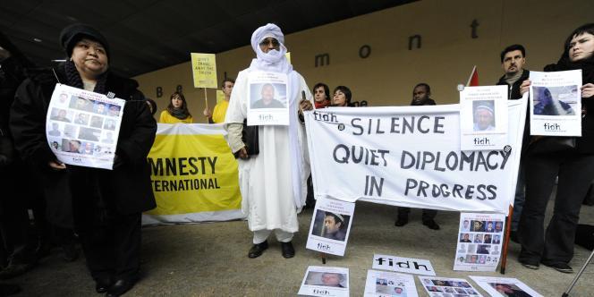 Manifestation à Bruxelles à l'occasion de la visite, le 24 janvier, contre la visite du président ouzbek, Islam Karimov.